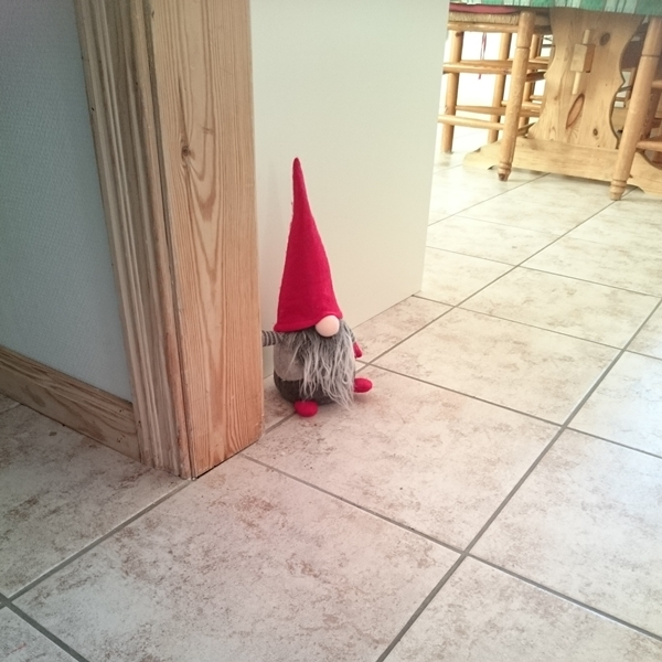 Our little gnome in the kitchen doorway