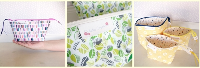 The Allison bag and boxed zipper pouches from Colleke Creations