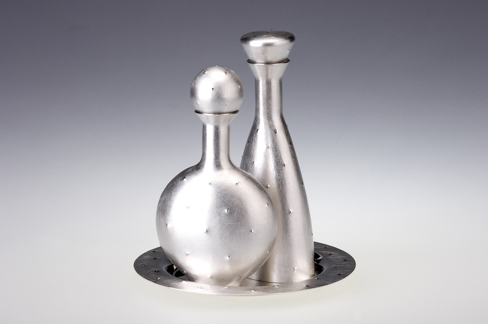 Oil and Vinegar Flasks on Tray