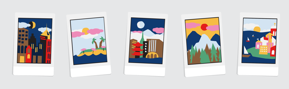 From left to right: An American city, a beach vacation, a city abroad, a trip to the mountains, and a seaside town.