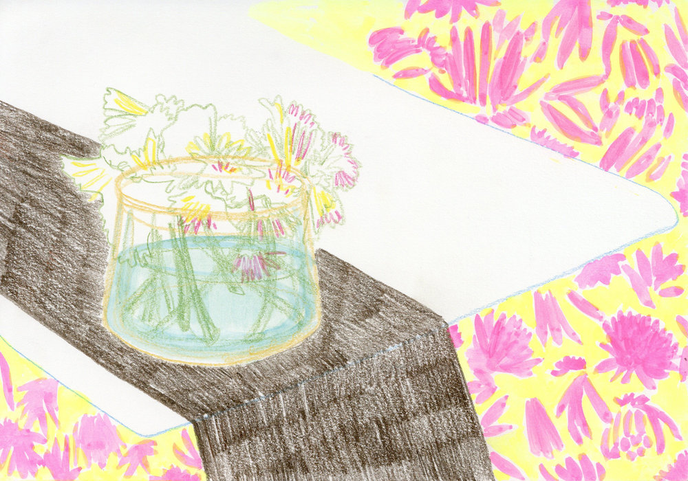 """""""Cut Flowers on the Kitchen Table"""" - Colored Pencil and Water Color"""