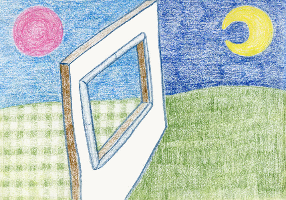"""""""The Grass is Always Gingham on the Other Side"""" - Colored Pencil"""