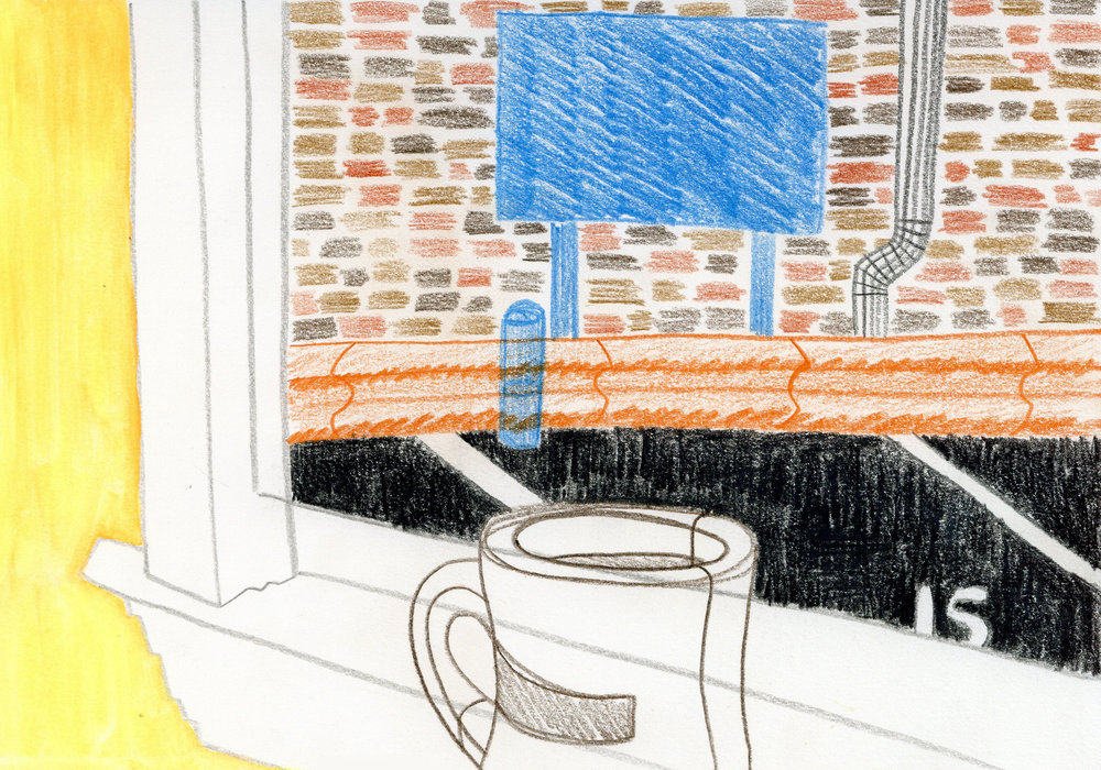 """""""Window Seat at Roh's"""" - Colored Pencil"""