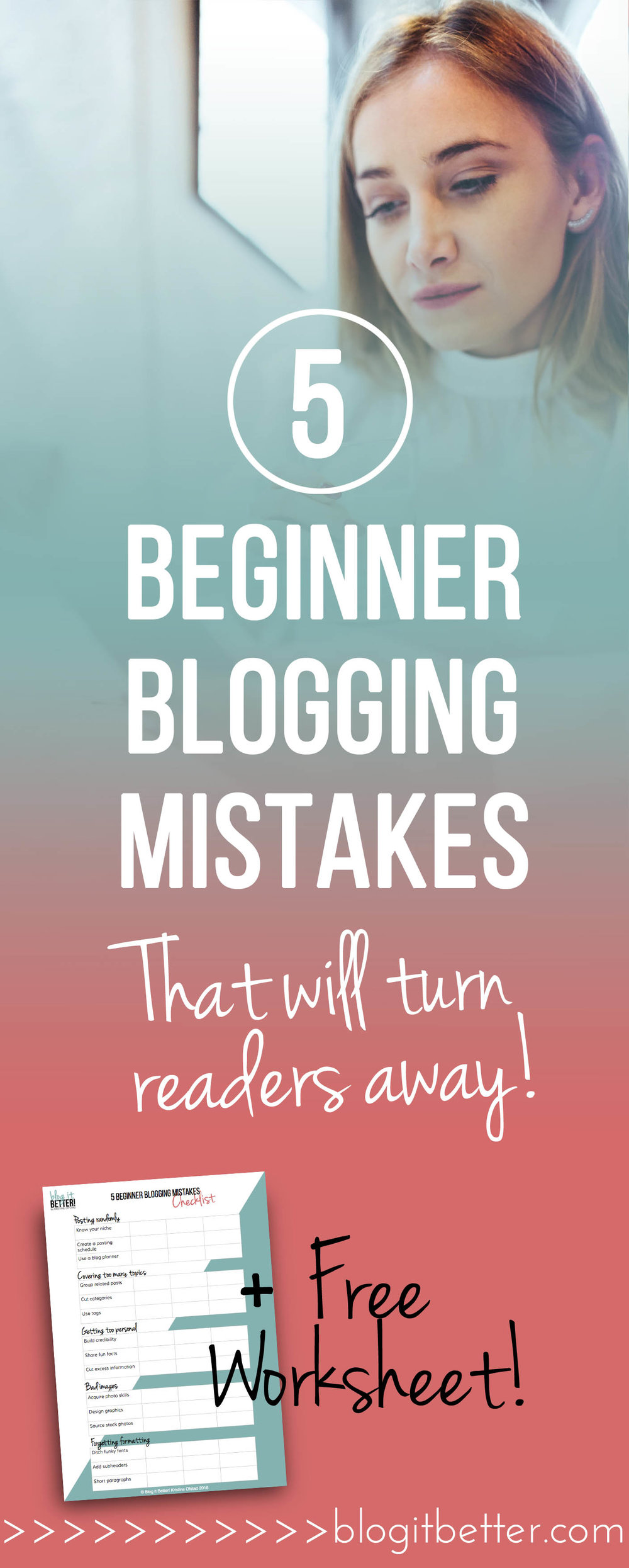 Are you making these 5 huge beginner blogging mistakes? Find out how to identify some of the biggest mistakes bloggers make, and learn how to avoid them! Blog it Better!