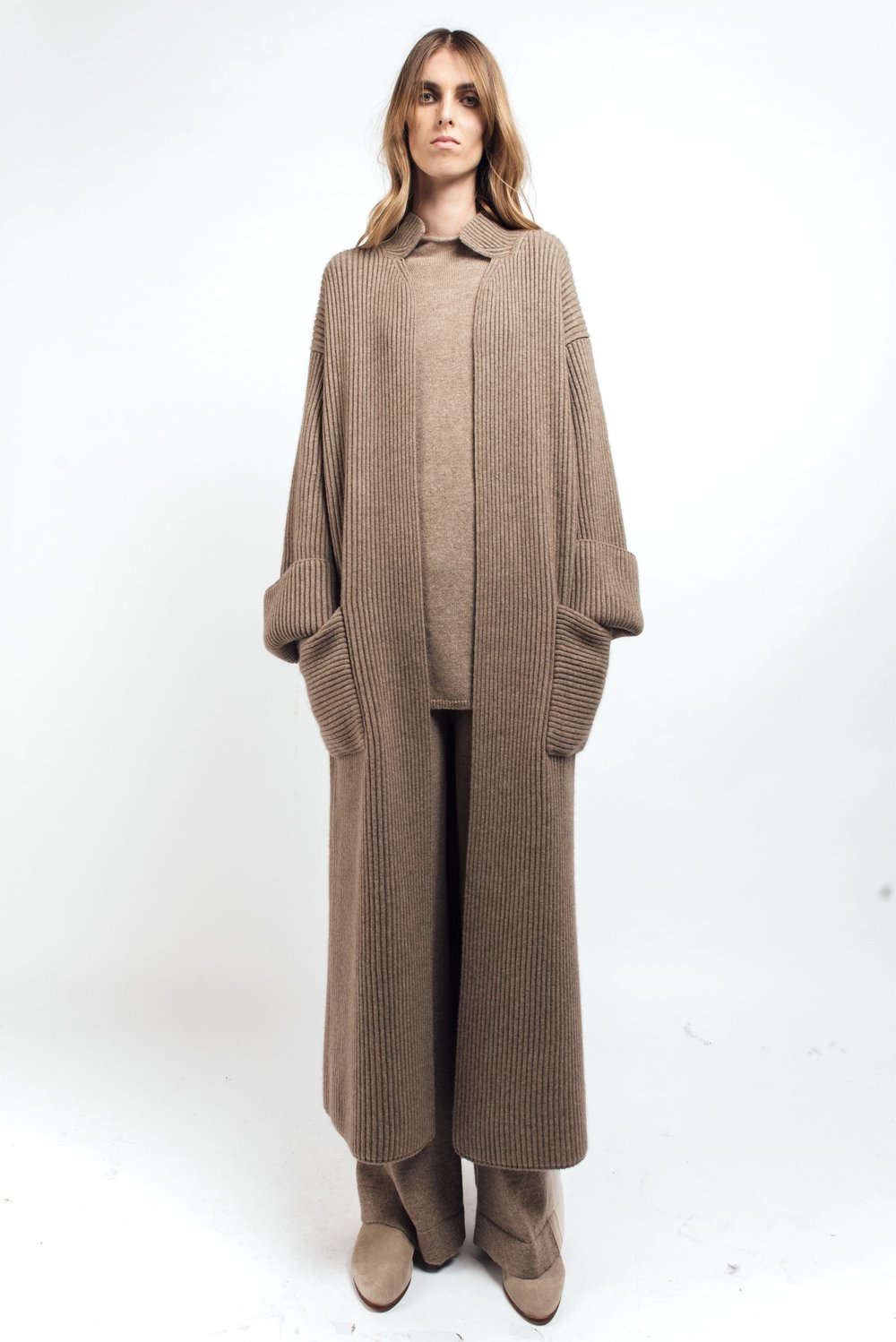 Ribbed cashmere coat