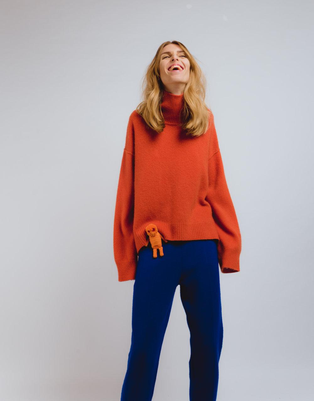 Orange oversized cashmere jumper