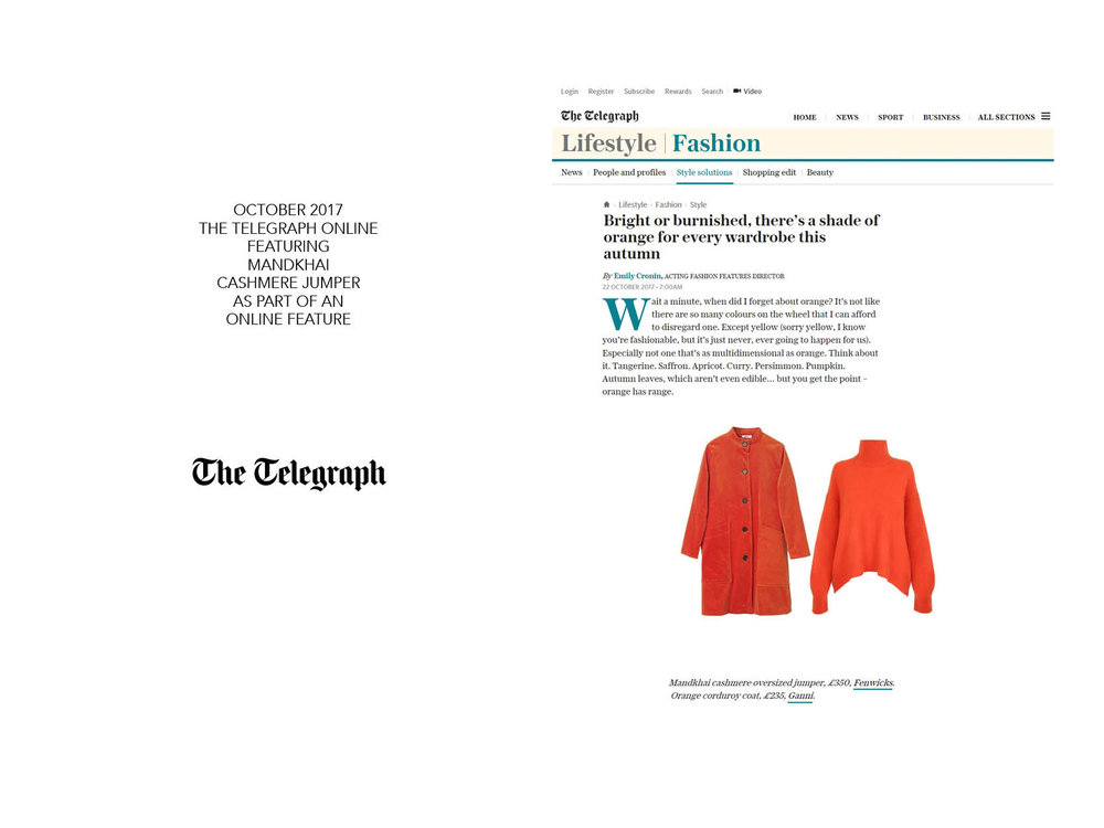 Telegraph Online Cashmere Jumper - 23.10.17. Mandkhai Press