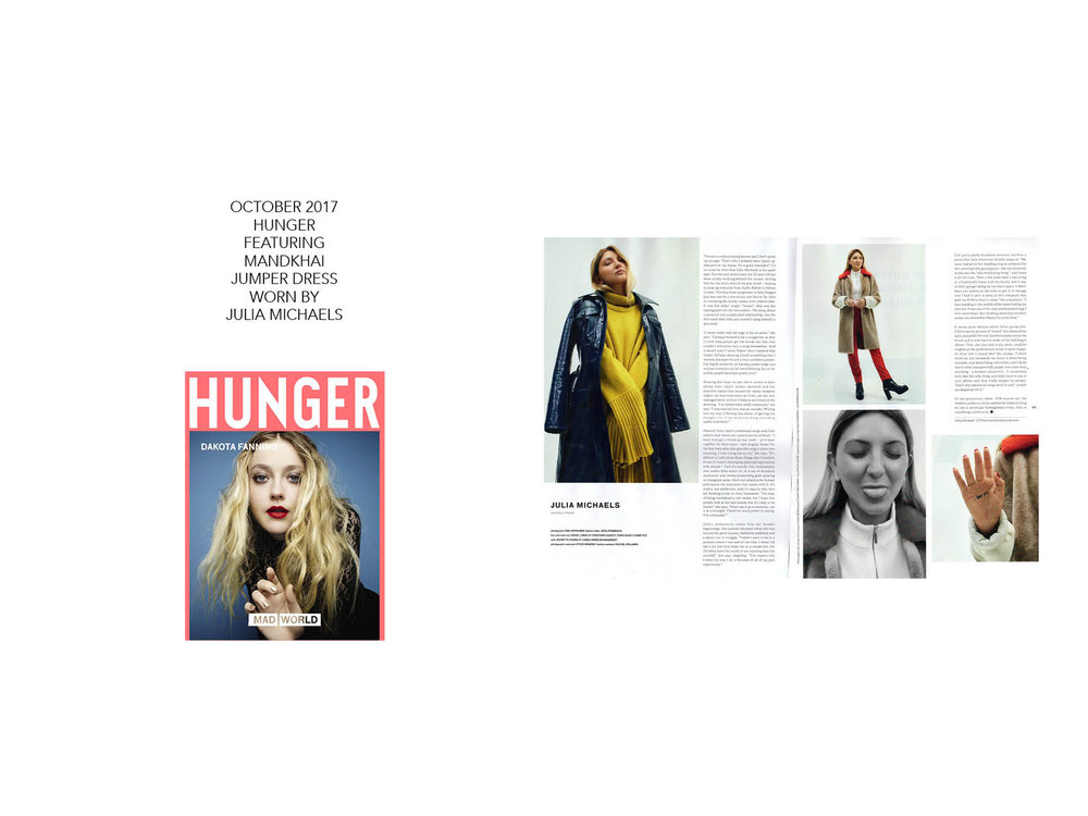 Hunger magazine Julia Michaels - 06.10.17. Mandkhai Press