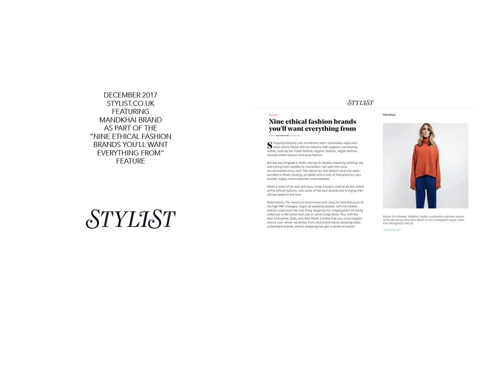 Stylist.co.uk - 13.12.17 Mandkhai Press