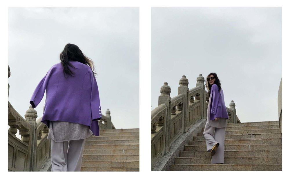 Mandkhai in Hong Kong wearing suit blazer in purple