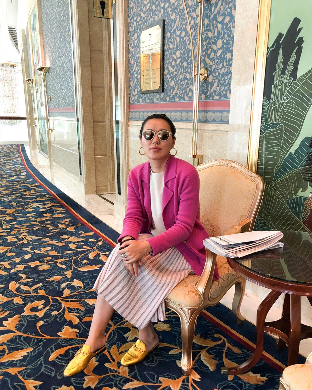 Mandkhai wearing SS18 blazer and SS17 skirt
