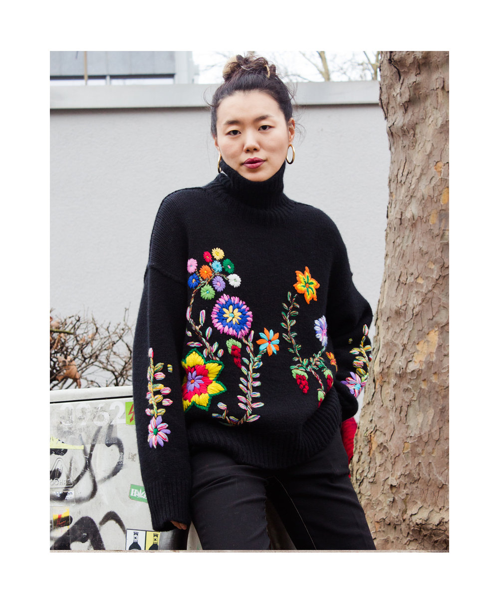 Mandkhai wearing embroidered oversized2 jumper
