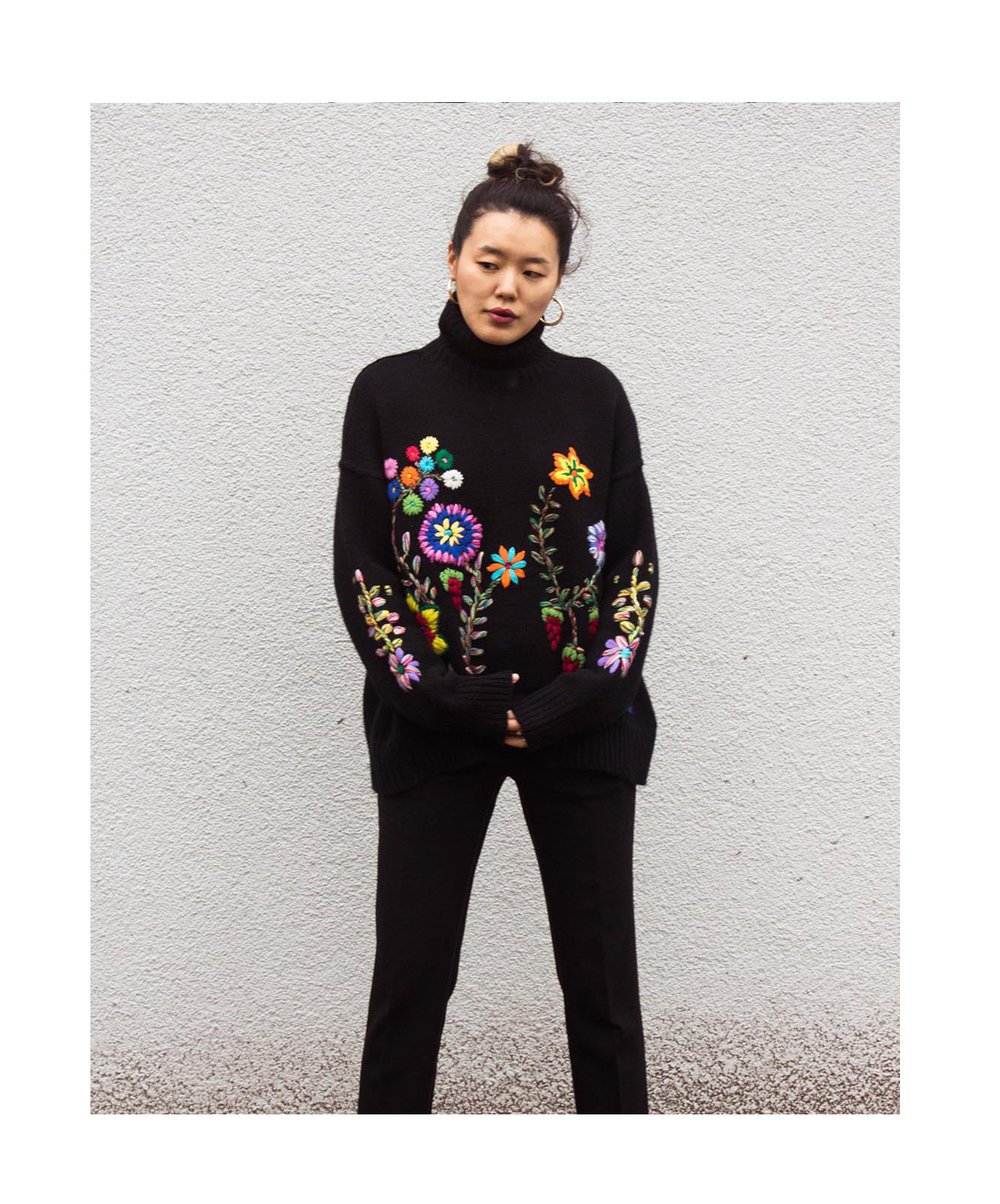 Mandkhai wearing flower embroidered oversized2 jumper