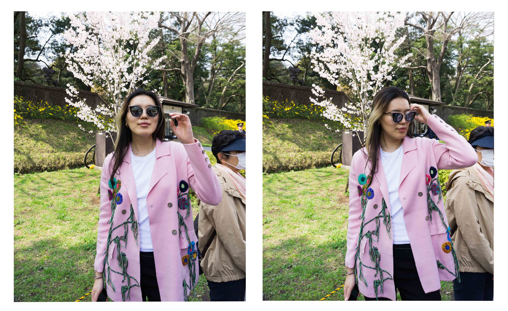Mandkhai wearing flower embroidered suit blazer in Tokyo