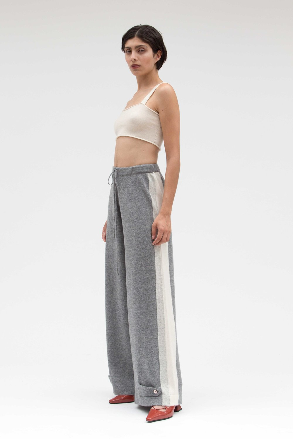 d5d957e1ac7 grey and white cashmere wide leg buckle trouser
