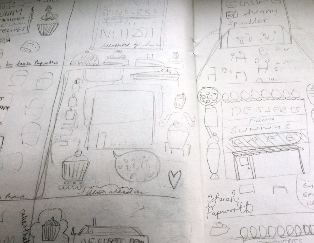 Rough sketches for layout ideas