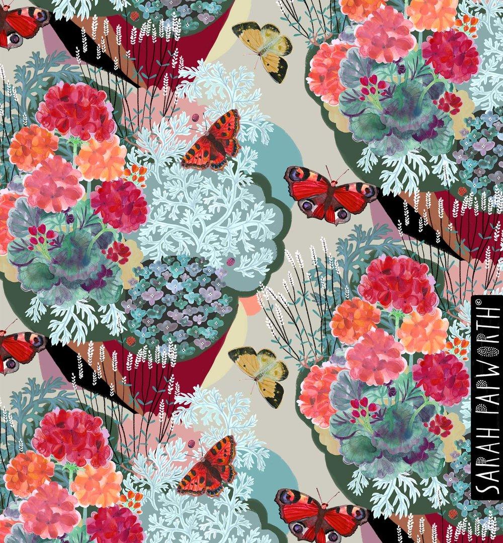 garden floral geranium geometric textile furnishing design homeware sarah papworth.jpg