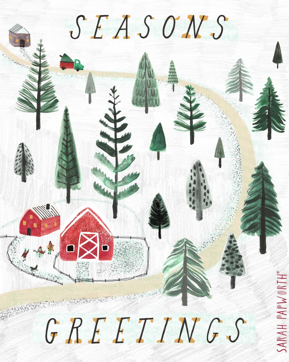 greeting card design christmas snoy scene woodland cabin sarah papworth.jpg