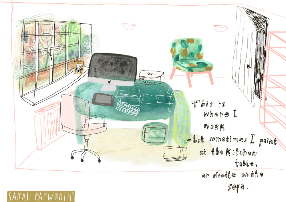 editorial illustrator office work place room layout sarah papworth.jpg