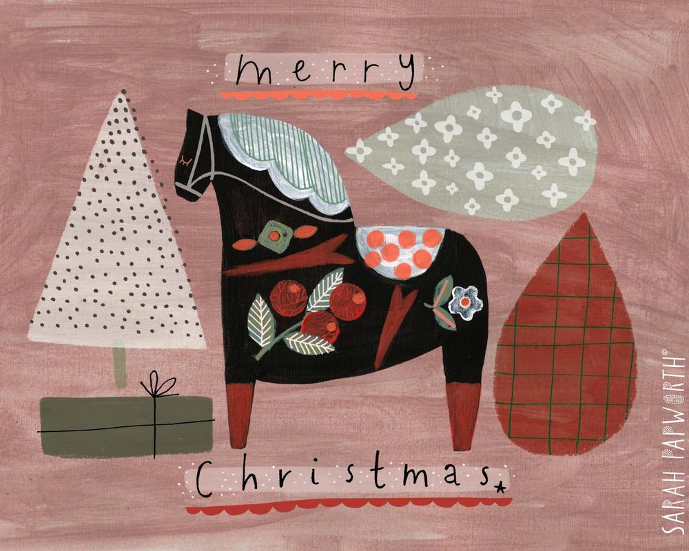 hand painted dala horse christmas greeting card sarah papworth design illustration.jpg