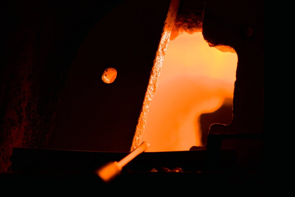 -Hand blown glass, furnace for melting glass-