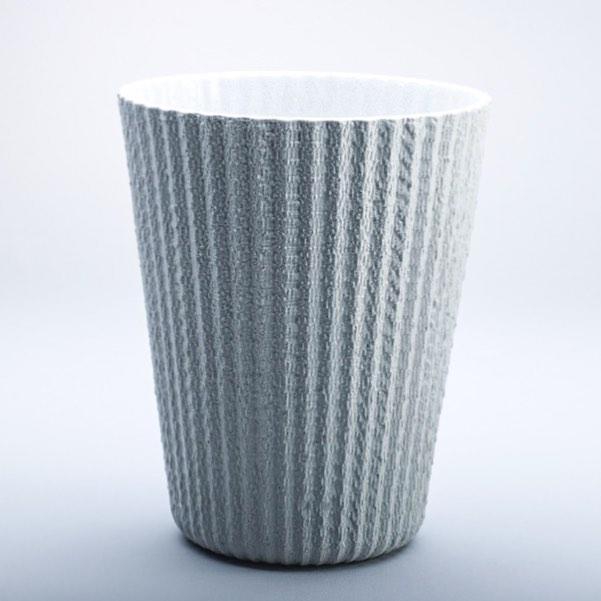 0ur -Fiber- vase is made of coloured stoneware #pottery #stoneware #ceramics #contemporaryceramics #handcrafted #vase #slipcasted  #texture #blue #grey