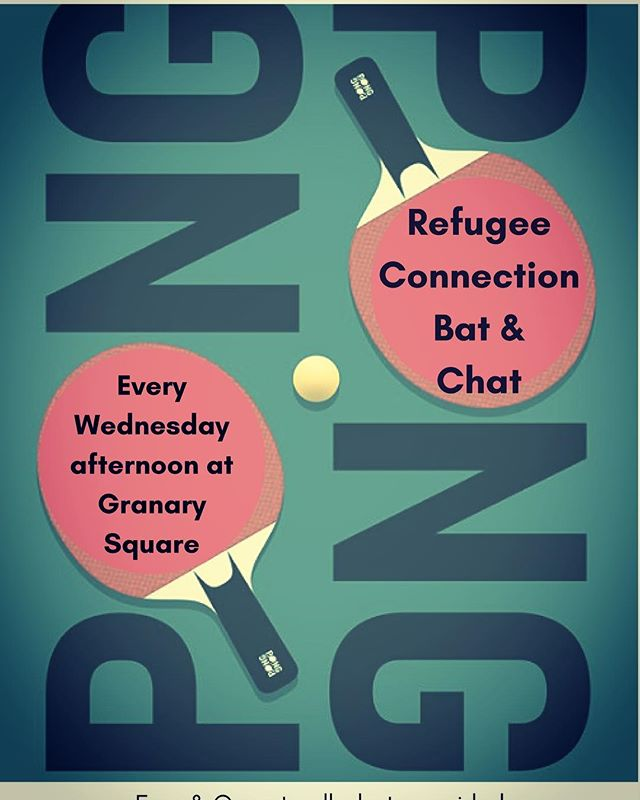 Bat and chat today from 3pm at Granary Square - hope to catch you there 🏓☕️✨