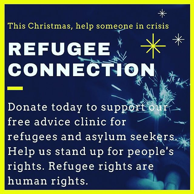Link to donate in bio.  Refugee Connection is running a Christmas appeal for the month of December. All proceeds are going towards running costs of its free advocacy and advice clinic for refugees and asylum seekers.  Past work has included supporting people in immigration detention, at benefits tribunals, victims of trafficking and refugee families on the vulnerable persons relocation scheme. Most of Refugee Connection's referrals come from the NHS or local authority councils.  If you could spare as little as £6 this festive season and feel as frustrated as we do by this government's austerity cuts and chronic underfunding - rest assured your donation will make a world of difference to people in these trying times. 🎄✨🌟❄️☃️ #charitytuesday #christmasappeal2017 #charity #givingtuesday #xmas #xmasdonation #festive #refugeeswelcome #humanrights #advocacy #notocuts #austerity #spreadfestivecheer