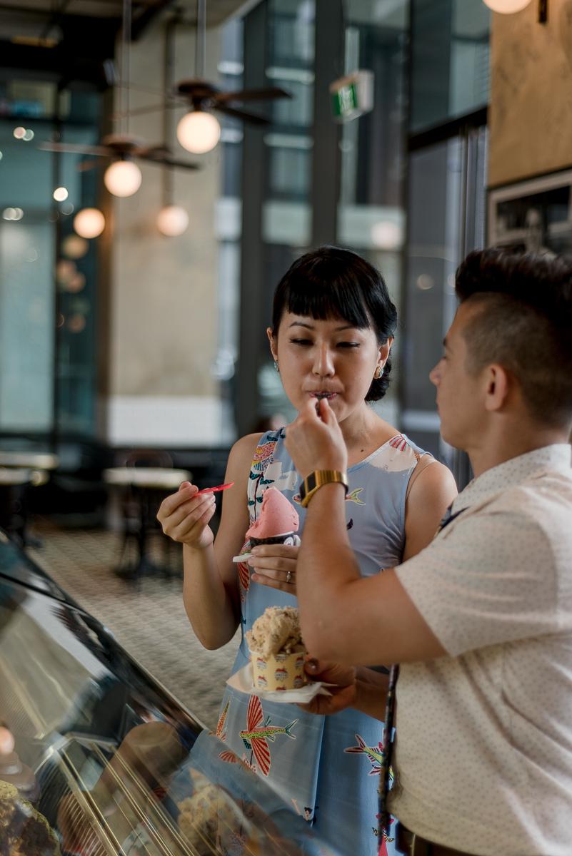 Anita Gelato Cafe engagement shoot