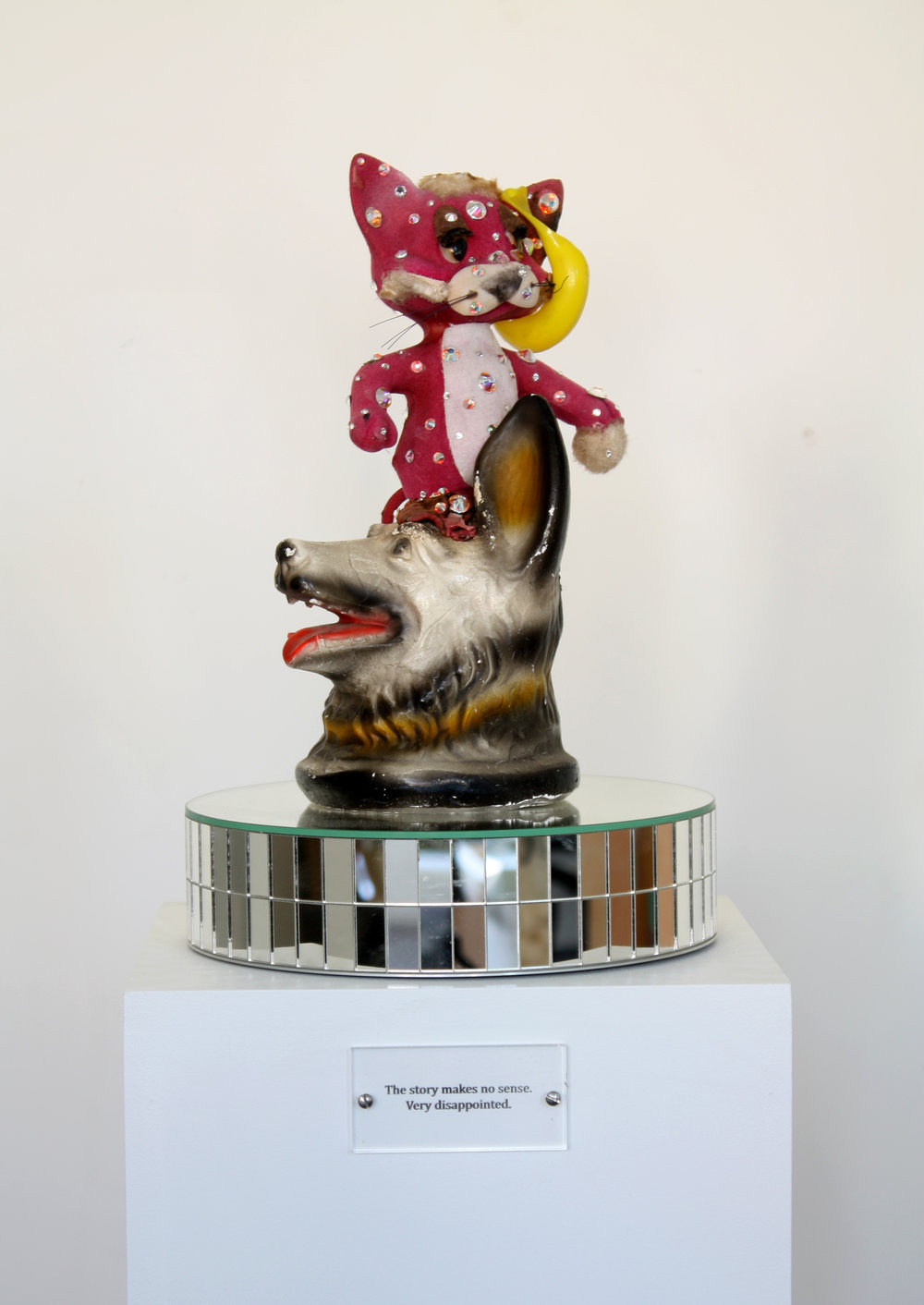 The Story Makes no Sense. Very Disappointed (Philip K. Dick), 2014 painted wood base, rotating support mirror, engraved plexiglass, objects 135 x 25 x 25 cm - 53 1/8 x 9 7/8 x 9 7/8 inches