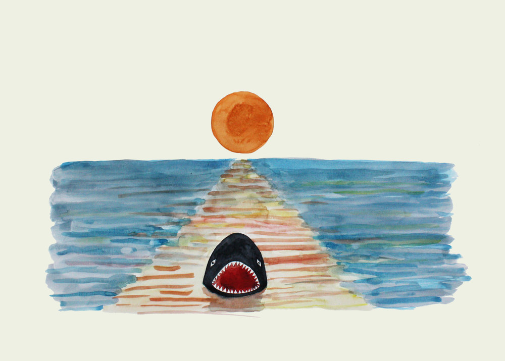 Le requin, 2010 watercolor and pencil on paper 54 x 75,5 cm - 21 1/4 x 29 3/4 inches
