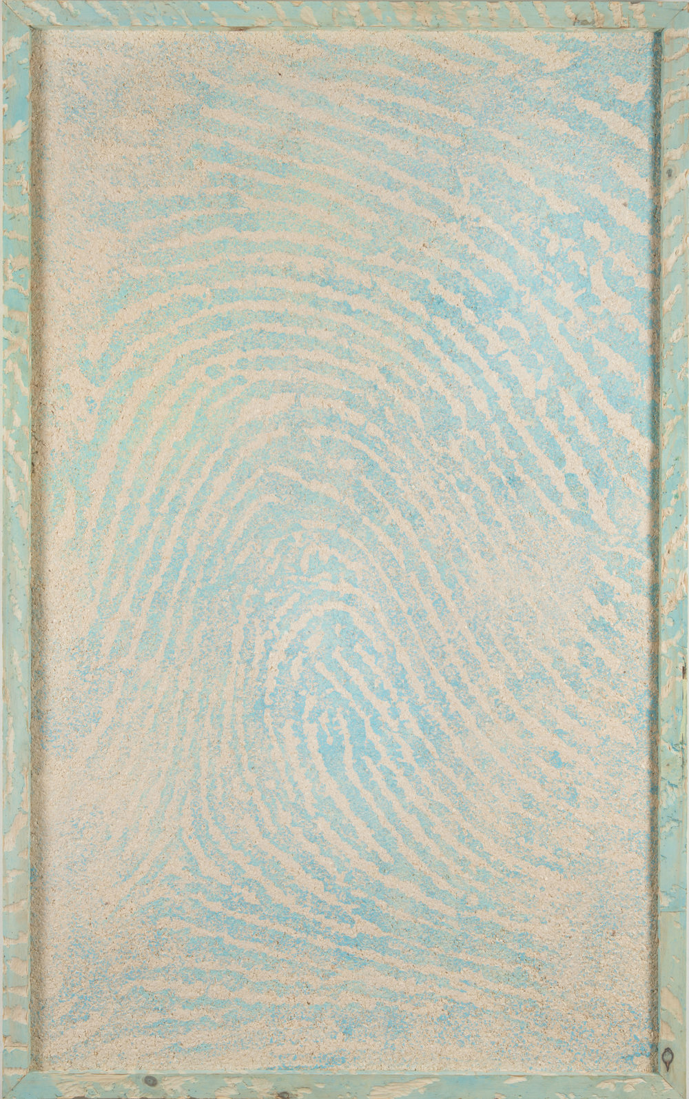 John Baldessari, 2014 from the series  Woodblocks  malachite ink on paper made from pinewood in pinewood block frame 165 x 103 x 6,4 cm - 64 7/8 x 40 1/2 x 2 1/2 inches