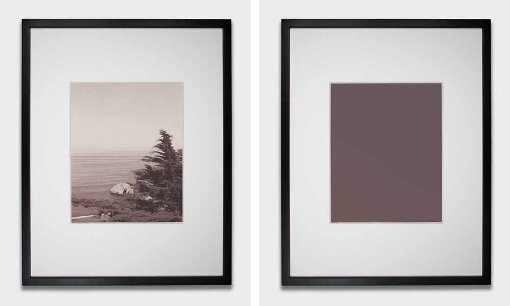 Sea #2 (before and after exposure to light), 2011 unfixed silver gelatin print 38 x 48,3 cm - 15 x 19 inches (each) (framed)