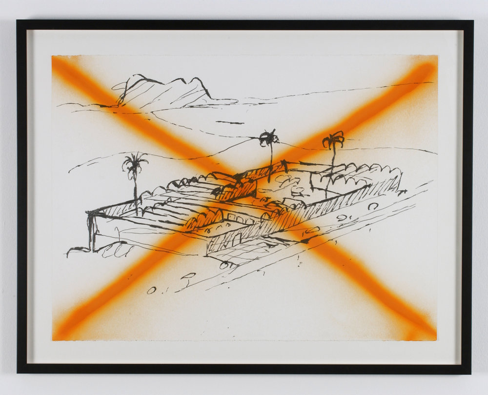 Negation of Le Corbusier Lifestyle, 2004 graphite and spray enamel on paper 70 x 90,5 cm - 27 1/2 x 35 5/8 inches (framed)