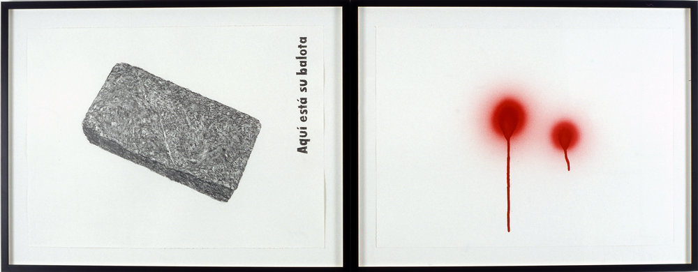 Aquí está su balota, 2005 graphite and spray enamel on paper 70 x 90,5 cm - 27 1/2 x 35 5/8 inches (framed)