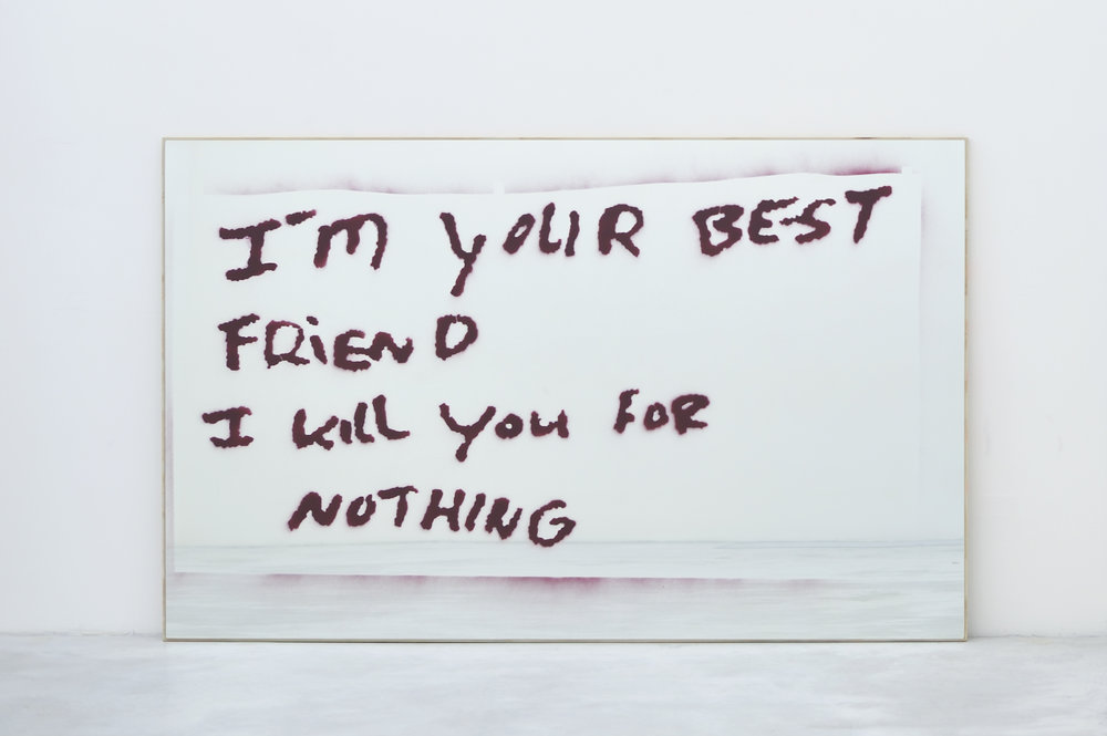 I'm Your Best Friend / I Kill You for Nothing, 2010 spray enamel on mirror on plywood 122 x 199,4 x 2,5 cm - 48 x 78 1/2 x 1 inches
