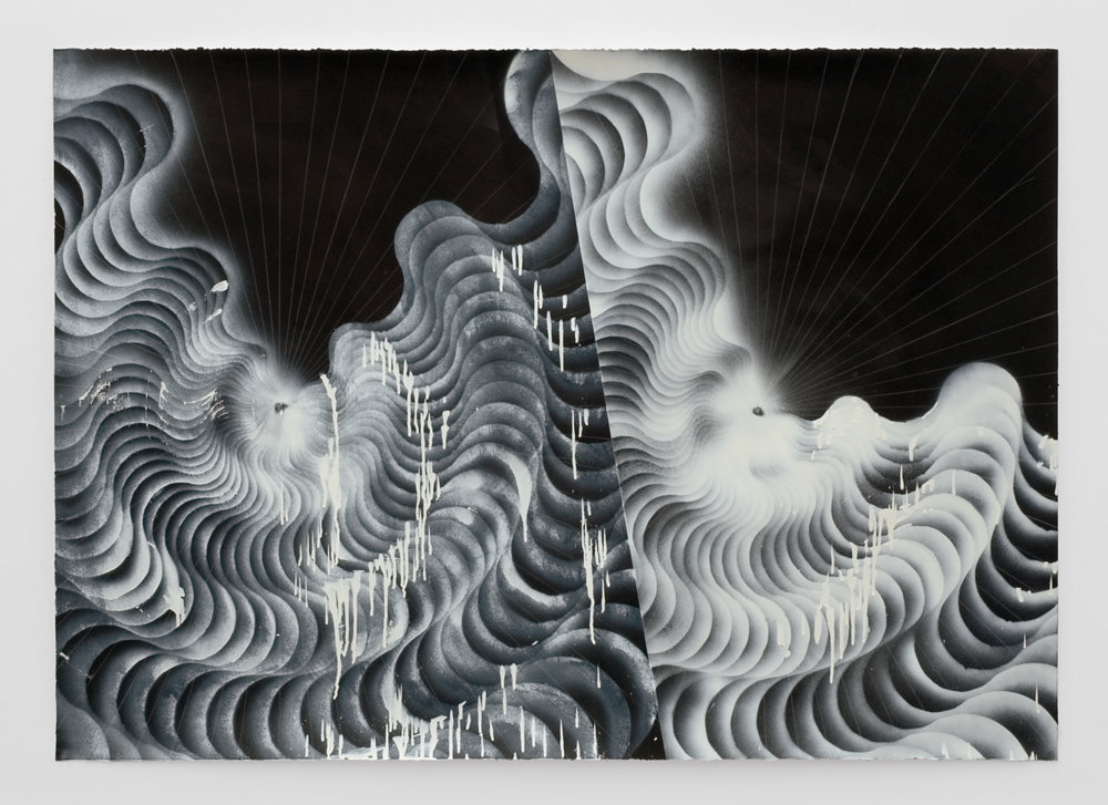 Double Vortex #1, 2008 india ink, colored pencil and spray paint on paper 122,5 x 167 cm - 48 1/4 x 65 3/4 inches