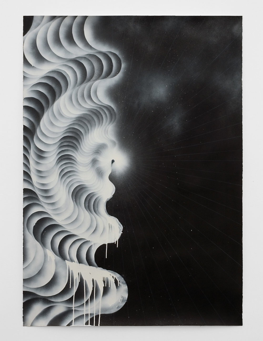 Vortex #2, 2008 sumi ink, acrylic varnish, colored pencil and spray paint on paper 167 x 122,5 cm - 65 3/4 x 48 1/4 inches