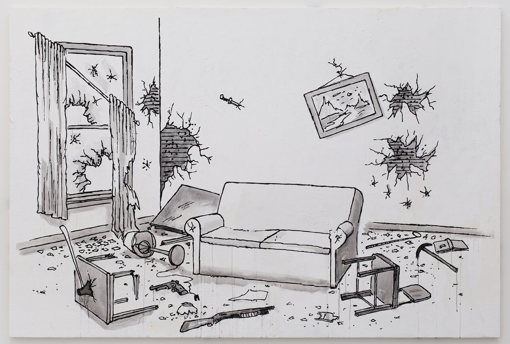 Living Room, 2014 acrylic and flashe on canvas 183 x 277 cm - 72 x 109 inches