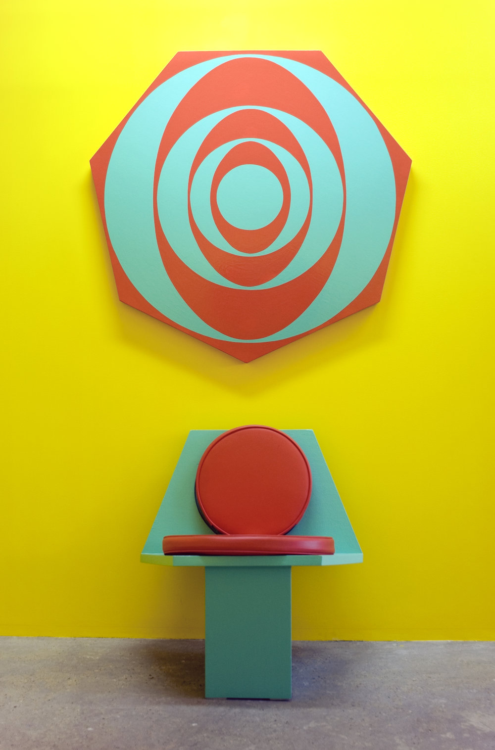 Untitled (Futura Chair and Painting) (0487), 1987 oil based enamel on wood, vinyl, foam cushion on chair variable dimensions