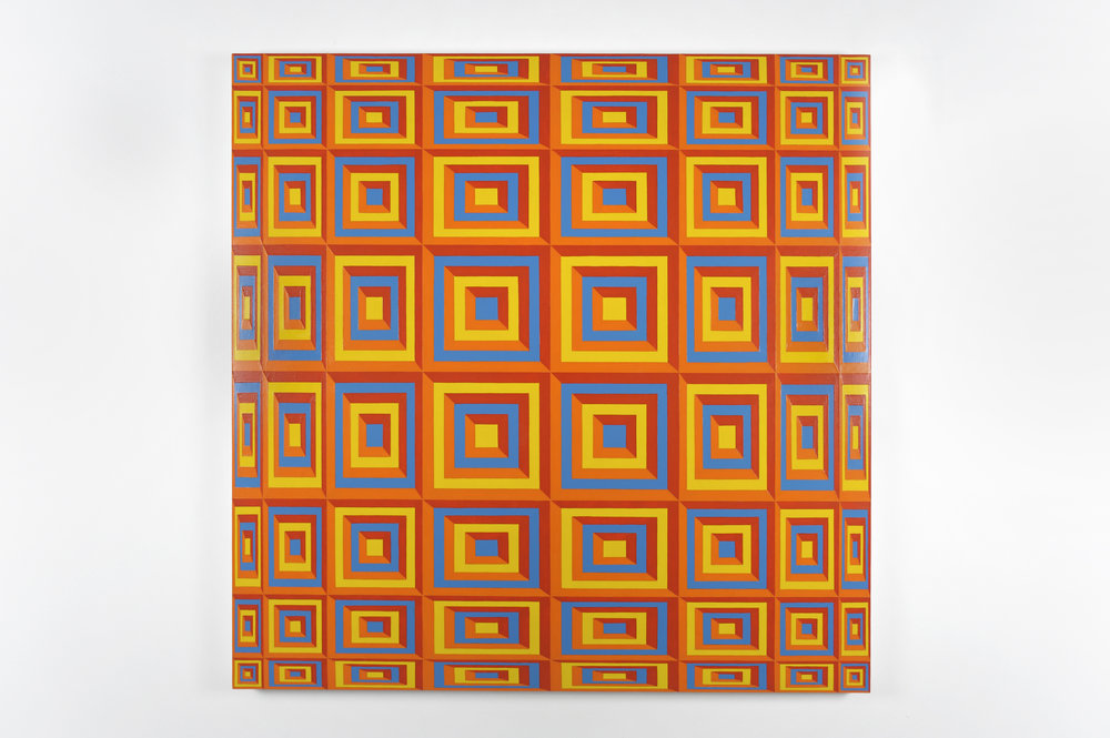 Untitled (yellow 116; orange 1505; red 179; blue 2925), 2009 acrylic latex paint on canvas 122 x 122 cm - 48 x 48 inches