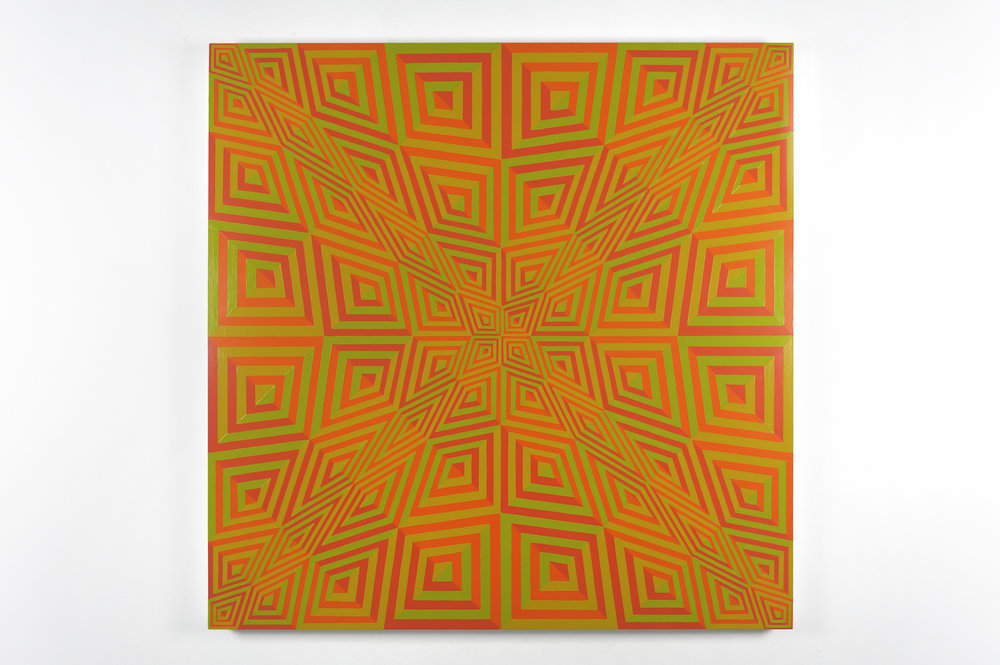 Untitled (orange 21; ochre 124; green 397; red 1788), 2009 acrylic latex paint on canvas 122 x 122 cm - 48 x 48 inches