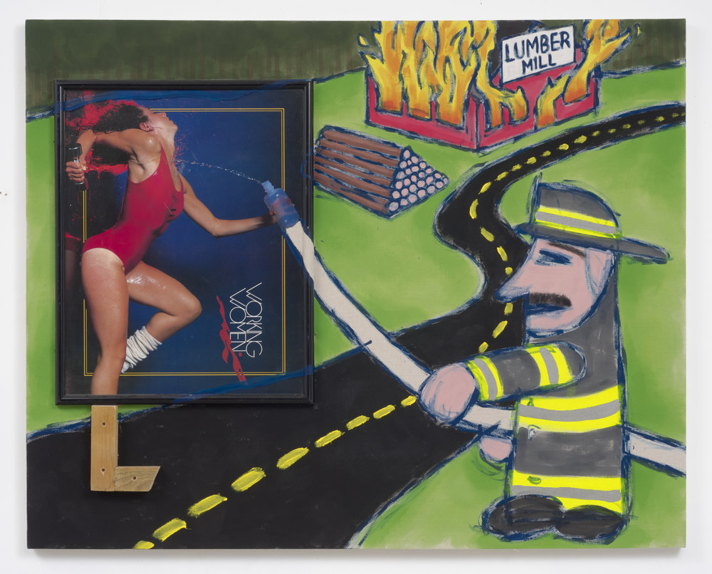 The Legend of the Old Mil Fire, 2015 framed image, acrylic, fake hair, matte medium, canvas, wood, hardware 122 x 152,4 cm - 48 x 60 inches