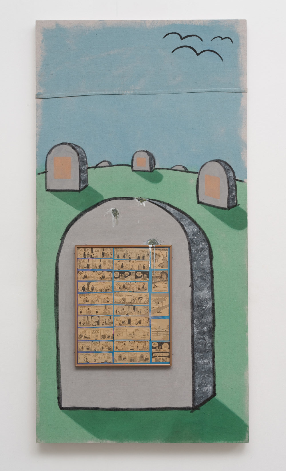 Wake Up Dead People, 2013 canvas, framed images, acrylic, marker, wire, wood 180,4 x 91,5 cm - 71 x 36 inches