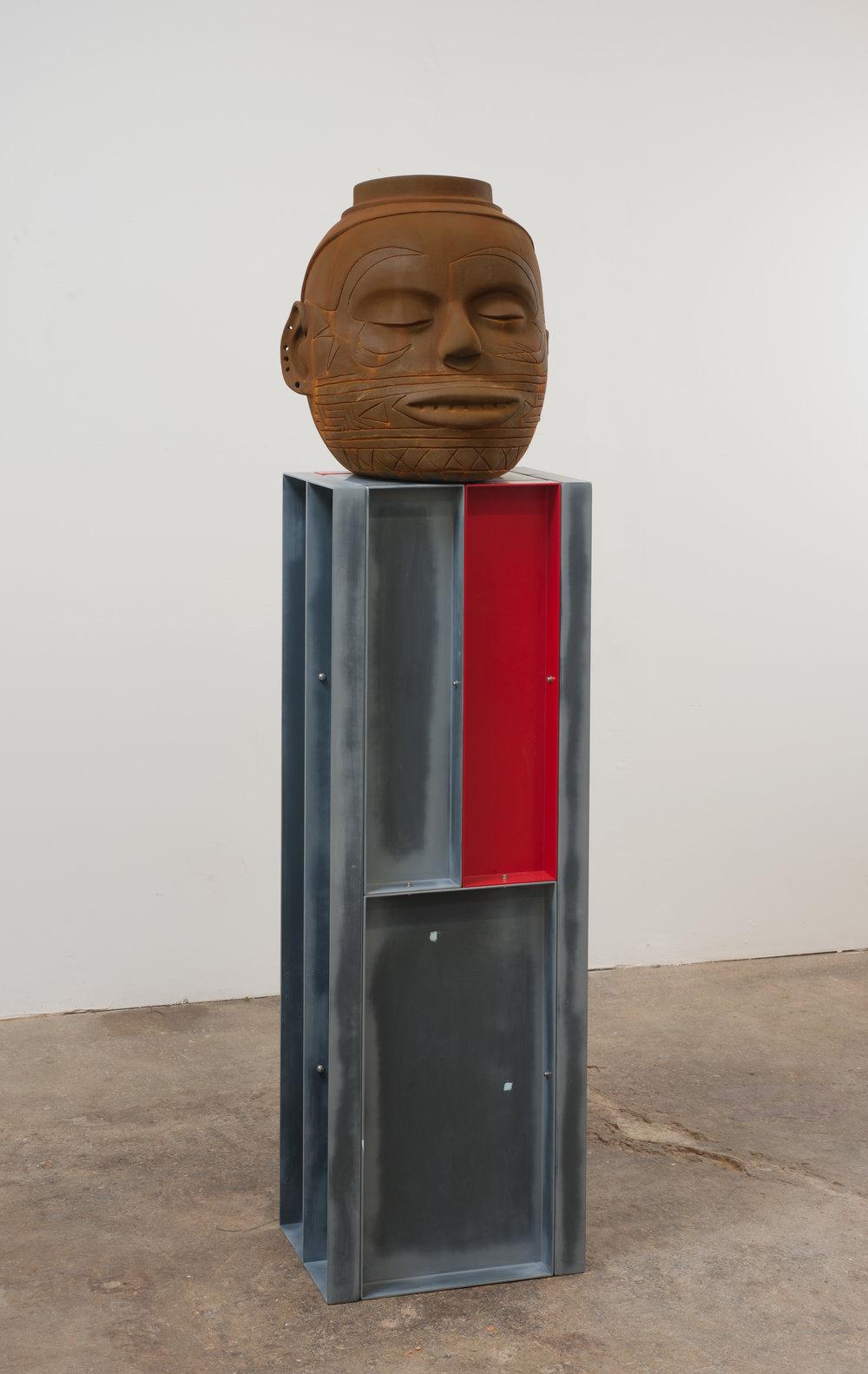 400% (Death Grin/Klee Face), 2010 terracotta, aluminum, paint 175 x 40 x 30 cm - 68 7/8 x 15 3/4 x 11 3/4 inches