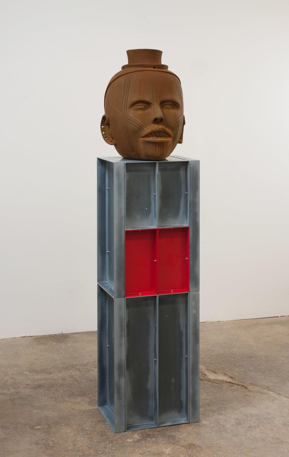 400% (Death Grin/Picabia Face), 2010 terracotta, aluminum, paint 175 x 40 x 30 cm - 68 7/8 x 15 3/4 x 11 3/4 inches