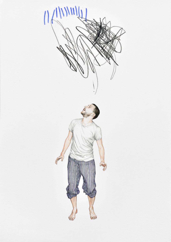 Papa, sous la pluie et l'orage, 2015 watercolor, inks on paper, felt-tip pen 46,5 x 31,8 cm - 18 1/4 x 12 1/2 inches
