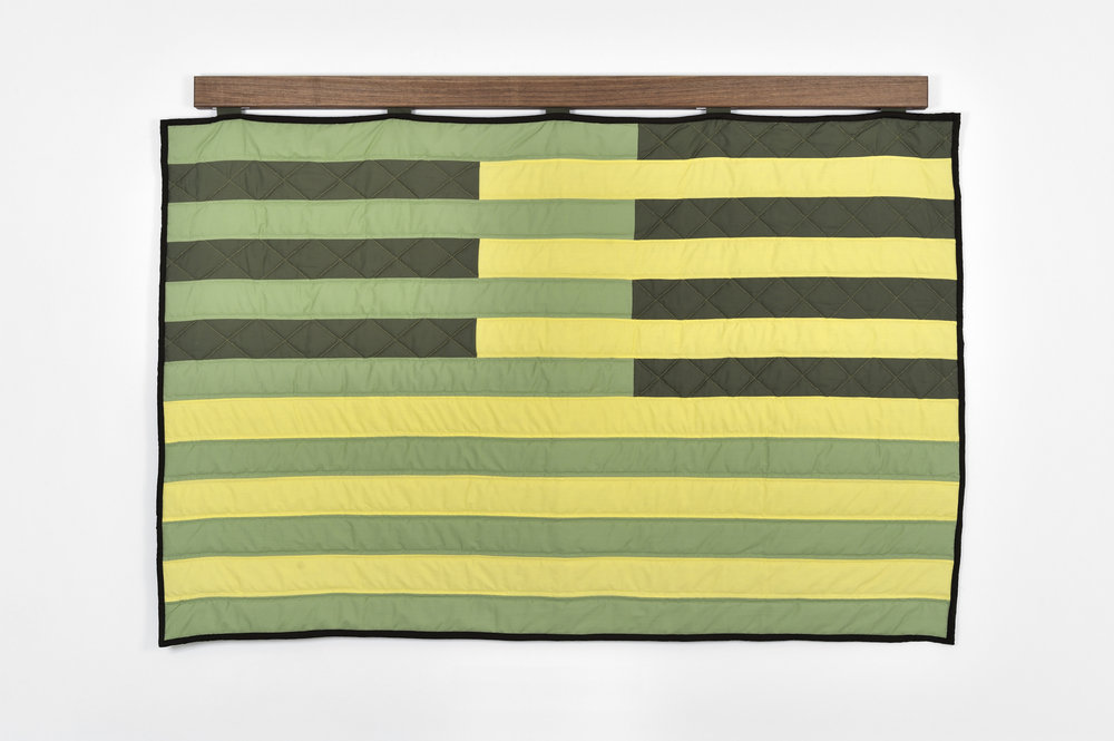 Deconstructing 13 Stripes and a Rectangle-Spring Quilt, 2011 hand sewn cotton clothe and walnut wood hanger 114 x 162 x 6 cm - 44 7/8 x 63 3/4 x 2 3/8 inches
