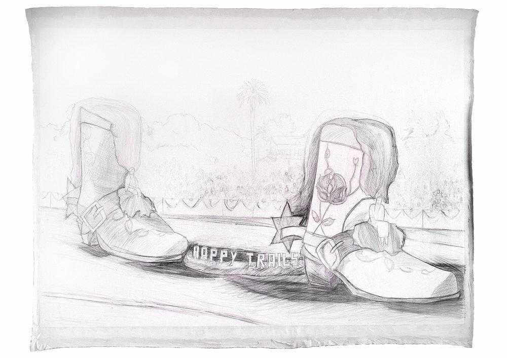 Happy Trails, 2004 graphite and pencil on canvas 277 x 397 cm - 109 x 156 1/4 inches