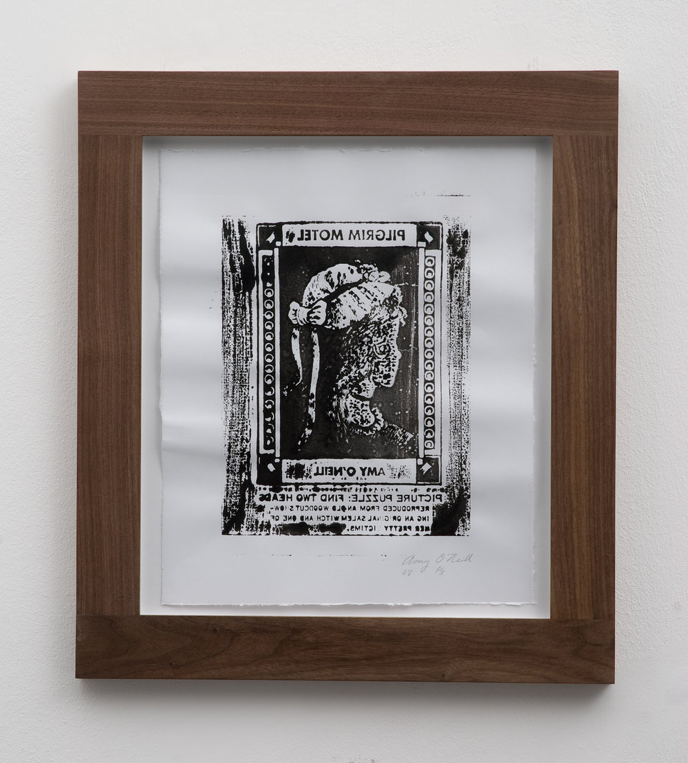 Salem Witch/Pretty Victim (Mirrored), 2008 woodcut print 32 x 26,5 cm - 12 1/2 x 10 3/8 inches